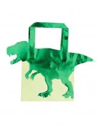 5 Sacos de festa de papel dinossauro verdes metalizados 22.5 cm