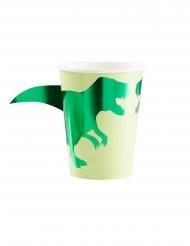 8 Copos de cartão dinossauro verdes 266 ml