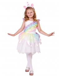 Disfarce unicórnio arco-íris menina