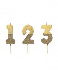 Vela Número dourado com brilhantes 13.8 cm