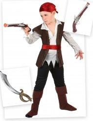 Pack disfarce de pirata menino com sabre e pistola