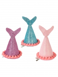 3 Chapéus de festa sereia brilhantes