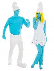 Disfarce de casal Smurf™ e Smurfette™ adultos