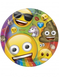 8 Pratos de cartão Emoji Rainbow™ 23 cm