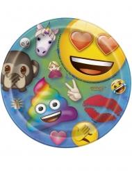 8 Pratos pequenos de cartão Emoji Rainbow™ 18 cm