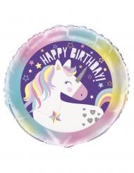Balão de alumínio happy birthday unicórnio 45 cm