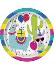 8 Pratos de cartão aniversário lama 23 cm