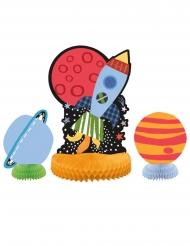 3 Centros de mesa universo e foguetão 25 e 15 cm