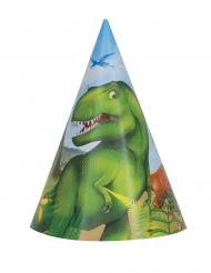 8 Chapéus de festa de cartão dinossauros