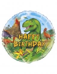 Balão alumínio redondo happy birthday dinossauros 45 cm