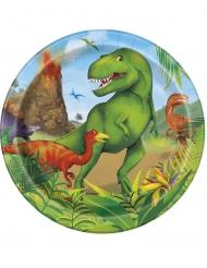 8 Pratos pequenos de cartão dinossauros 18 cm