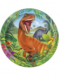 8 Pratos de cartão dinossauros 23 cm