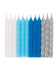 24 Velas de aniversário espirais azuis, brancas e prateadas