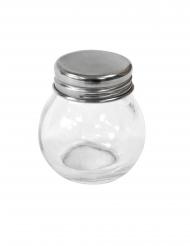 Frasco de vidro redondo com tampa de aço 5 cm