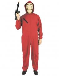 Disfarce macacão ladrão vermelho adulto