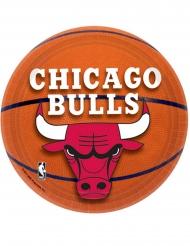 8 Pratos pequenos de cartão Chicago Bulls™ 18 cm