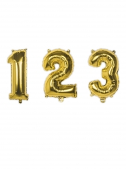Balão alumínio número dourado 35 cm