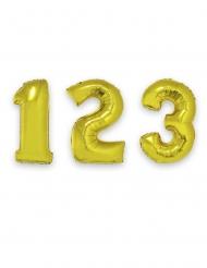Balão alumínio número gigante dourado 1 m