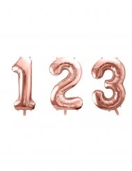 Balão alumínio número cor-de-rosa gold 86 cm