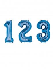 Balão alumínio número azul 88 cm