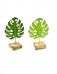 1 Folha tropical de metal sobre base de madeira verde 15 mc