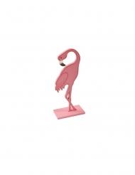 Flamingo rosa de madeira com base rosa 15 cm