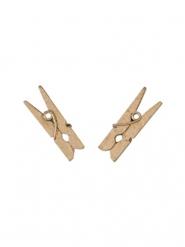 10 Mini molas de madeira cor-de-rosa gold 2.5 cm