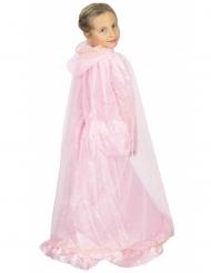 Capa princesa cor-de-rosa e dourada criança