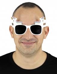 Óculos unicórnio branco adulto