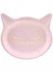 6 Pratos de cartão cabeça de gato cor-de-rosa 22 x 20 cm