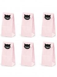 6 Sacos de festa em papel gatinho rosa 8 x 18 x 6 cm