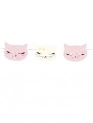 Grinalda de cartão gatinho cor-de-rosa e branco 8,5 cm x 1,4 m