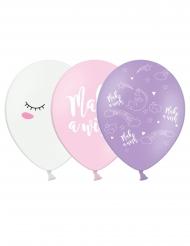6 Balões de látex unicórnio 30 cm