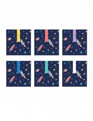 6 Sacos de festa em papel space adventure 13 x 14 cm