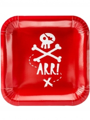 6 Pratos de cartão festa de pirata vermelho 20 cm
