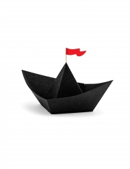 6 Barcos de pirata em papel origami preto 19 x 10 x 14 cm