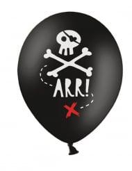 6 Balões de látex festa de pirata preto 30 cm