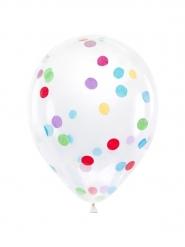 6 Balões de látex transparentes com confetis multicolor 30 cm