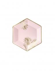 6 Pratos de cartão hexagonais tropical rosa e dourado 23 cm