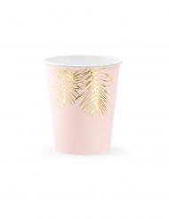 6 Copos de cartão tropical rosa e dourado 220 ml