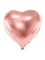 Balão de alumínio coração rosa gold metalizado 45 cm