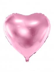 Balão de alumínio coração rosa pálido metalizado 45 cm