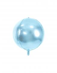 Balão alumínio redondo azul celeste metalizado 40 cm