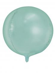 Balão alumínio redondo verde menta metalizado 40 cm