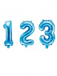 Balão de alumínio número azul 35 cm