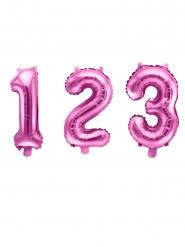 Balão de alumínio número cor-de-rosa 35 cm