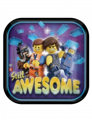 8 Pratos pequenos de cartão quadrados A Grande Aventura Lego 2™ 18 x 18 cm
