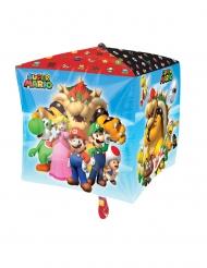 Balão alumínio cubo Super Mario™ 38 x 38 cm