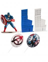 Kit de decoração bolo Captain America™ 8 cm
