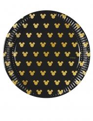 8 Pratos pequenos em cartão Mickey Gold™ 20 cm